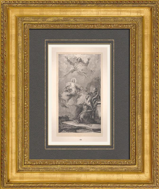 Antique Prints & Drawings | Italian painting - Sketch - Sainte-Anne Vision (Giambattista Tiepolo) | Typogravure | 1910