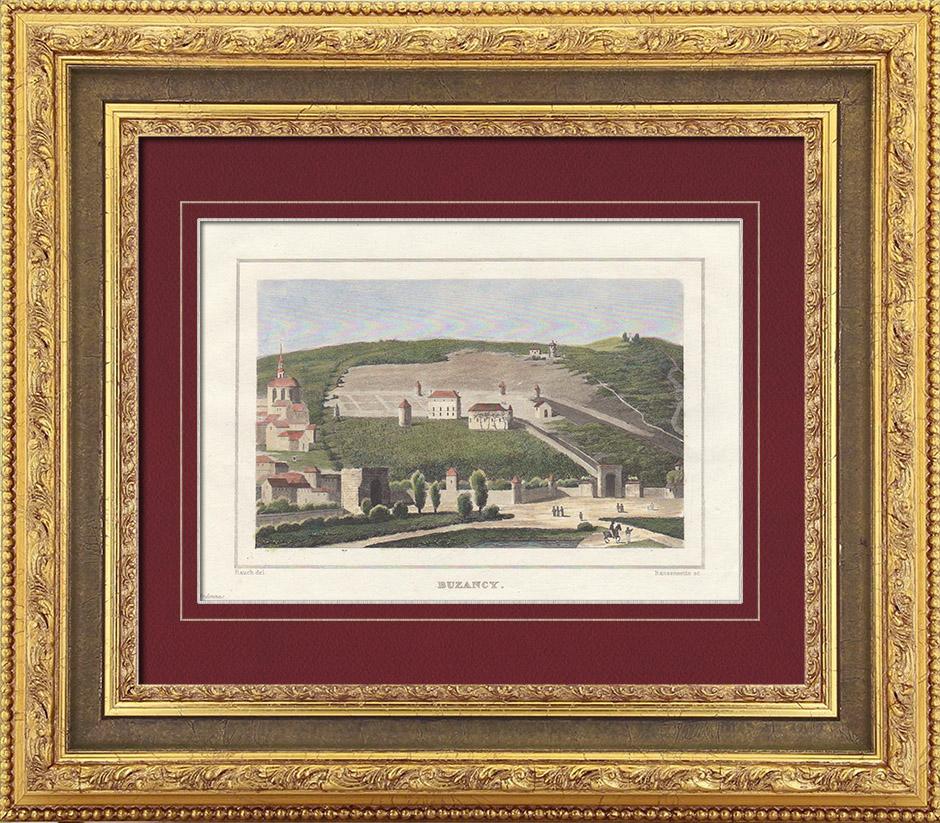 Gravures Anciennes & Dessins | Vue de Buzancy - Champagne-Ardenne (Ardennes - France) | Taille-douce | 1838