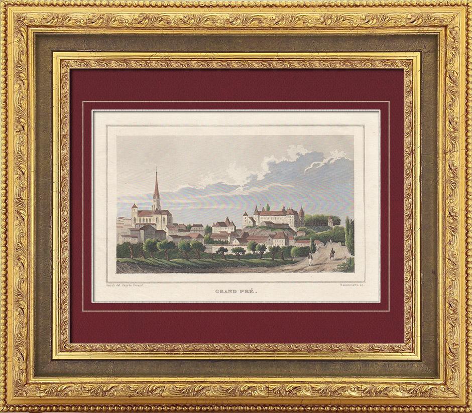 Gravures Anciennes & Dessins   Vue de Grandpré - Champagne-Ardenne (Ardennes - France)   Taille-douce   1838