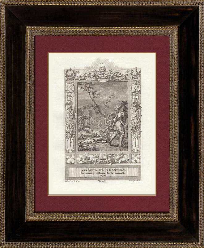 Gravures Anciennes & Dessins | Meurtre de Guillaume Ier de Normandie par Arnoul Ier de Flandre (942) | Gravure sur cuivre | 1790