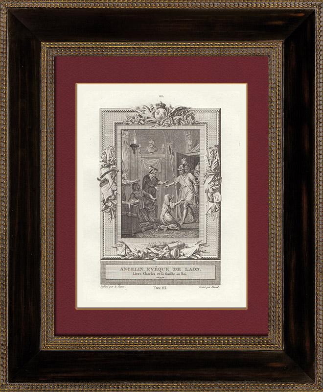 Antique Prints & Drawings   Treason of Adalberon, Laon's Bishop (991)   Copper engraving   1790