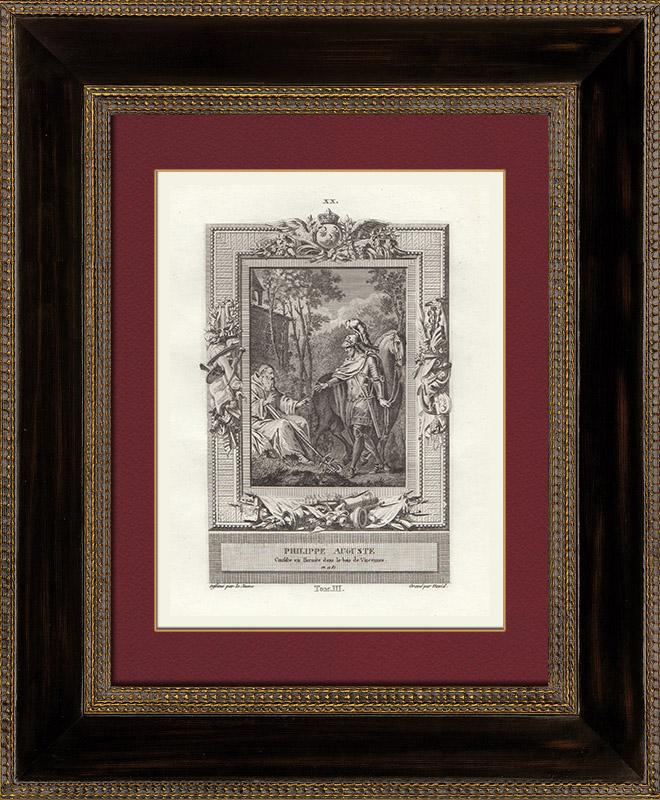 Antique Prints & Drawings   Philip II Augustus and Hermit Bernard of Vincennes (1181)   Copper engraving   1790