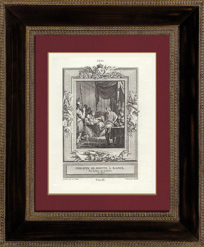 Gravures Anciennes & Dessins   Philippe III de France donne à Raoul l'Orfèvre des lettres de noblesse (1272)   Gravure sur cuivre   1790