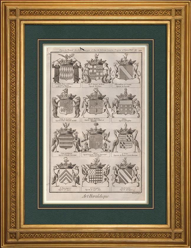Antique Prints & Drawings | Heraldry - Coat of Arms - Escutcheon - Encyclopédie Méthodique - Diderot's Encyclopédie - Pl.22 | Copper engraving | 1751