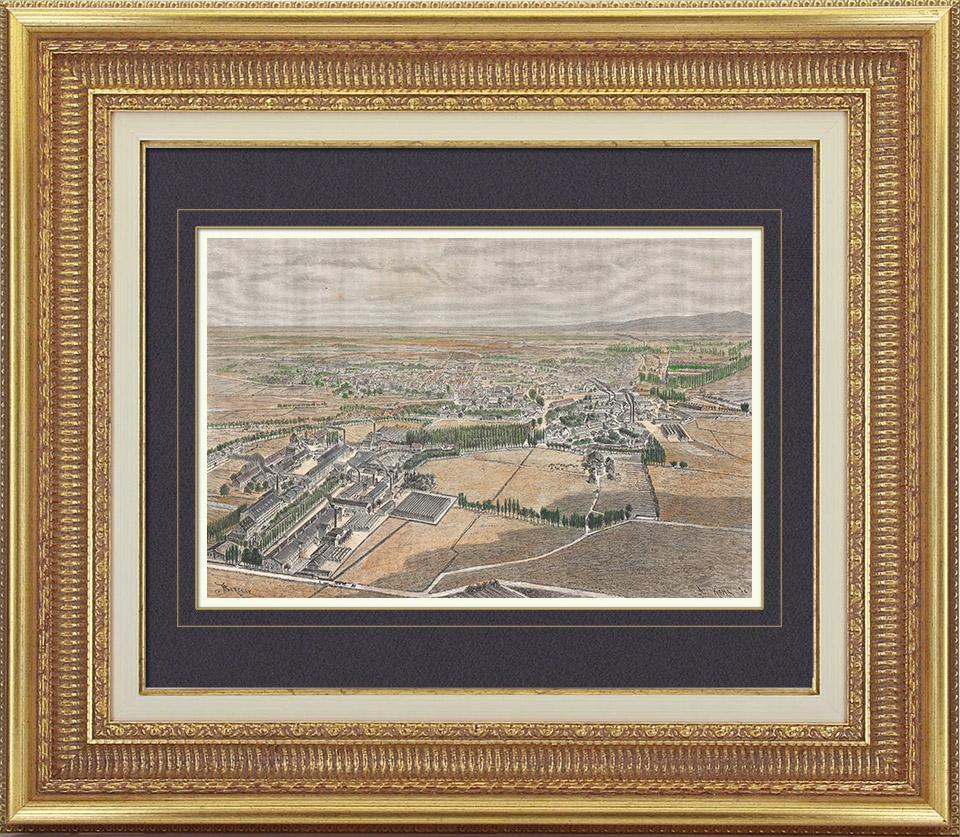 Gravures Anciennes & Dessins | Vue de Mulhouse - Dornach - Usines Textiles DollfusMieg - Alsace (France) | Gravure sur bois | 1886