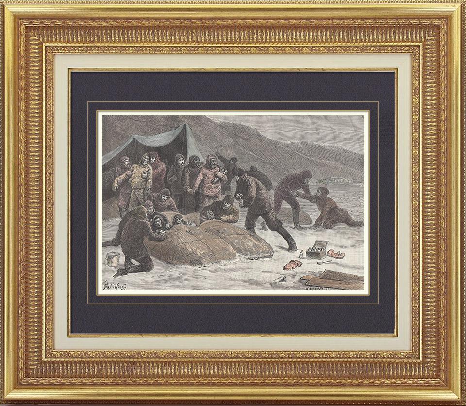 Gravures Anciennes & Dessins | Expédition Polaire Greely - Sauvetage - Lady Franklin Bay - Qikiqtaaluk - Nunavut - Détroit de Nares - Ile d'Ellesmere (Canada) | Gravure sur bois | 1886