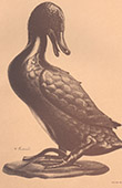 Japansk konst - Skulptur - Brons anka - Indisk lotus - 18. Århundrade