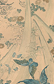 Japanese art - Decoration of cloth - Blue butterflies - 19th Century