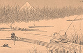 Art Japonais - Vue du Fujiyama - Mont Fuji - Japon (Hokusa�)