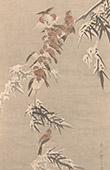 Japansk konst - Dekoration - Kak�mono - Bambu - Gr�sparv (T�ho-Soul)