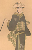 Japanische Kunst - Portr�t - Frauenkleidung - Akteur - Mann (Shunyei)