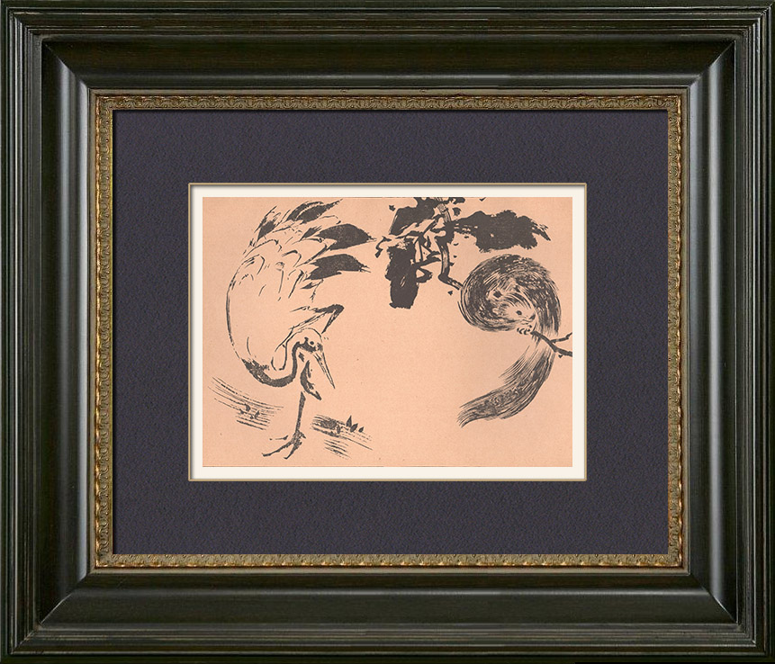 Antique Prints & Drawings   Japanese art - Sketch - Squirrel and Crane (Tatshibana-Morikouni)   Typogravure   1891