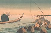 Japanische Kunst - Landschaft - Fischerboot (Kouniyoshi)