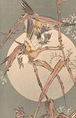 Japanische Kunst - Dekoration - Vögel in Bambus - Mondlicht (Sougakoudou)