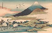 Art Japonais - Paysage - Mont Fuji - Fujiyama - Grues (Hokusa�)