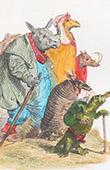Public and Private Life of Animals - Satirical Tales - Caricature - Rhinoceros - Camel - Armadillos - Cingulata