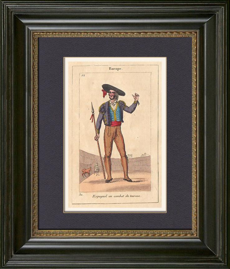 Gravures Anciennes & Dessins | Peuples du Monde - Europe - Espagne - Combat du Taureau - Corrida - Tauromachie | Gravure sur cuivre | 1828