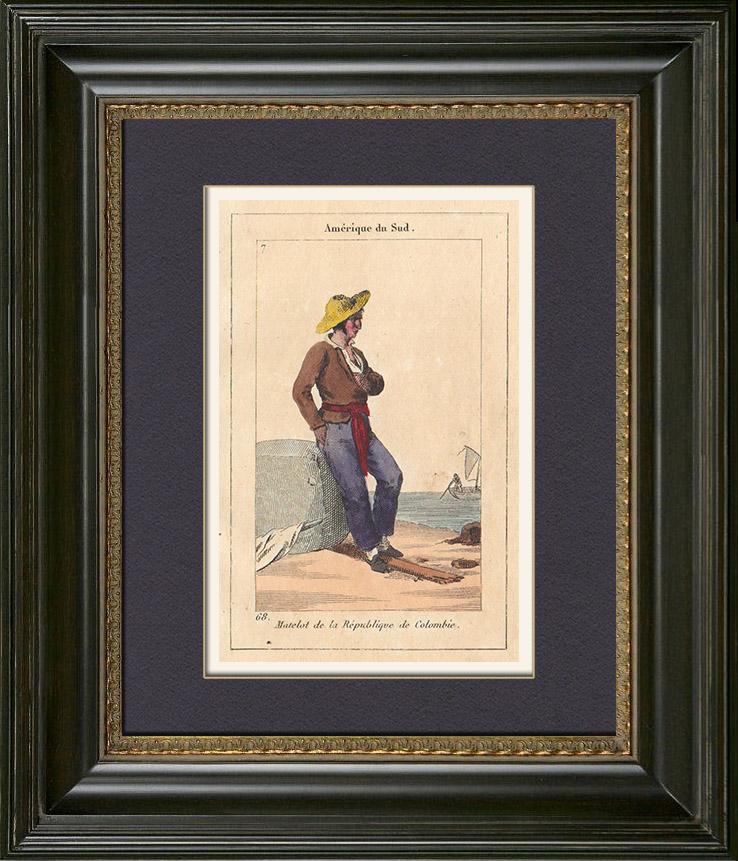 Gravures Anciennes & Dessins | Peuples du Monde - Amérique - Colombie - Marin | Gravure sur cuivre | 1828