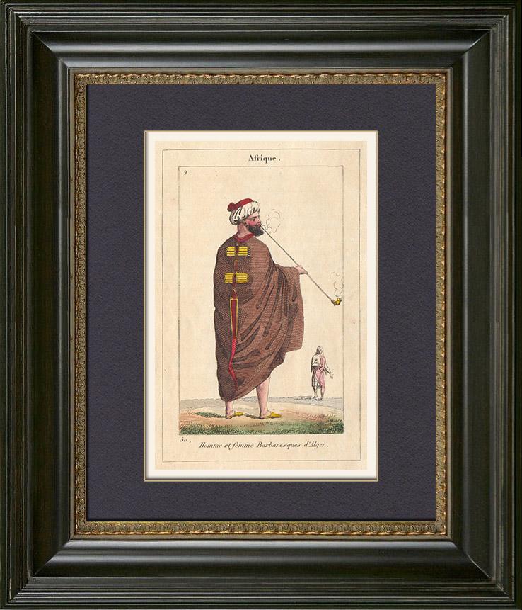 Gravures Anciennes & Dessins | Peuples du Monde - Afrique - Algérie - Barbaresques d'Alger - Alger | Gravure sur cuivre | 1828