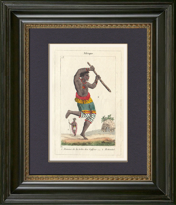 Antique Prints & Drawings | Peoples of the World - Africa - Kaffir - Hottentots - South Africa | Copper engraving | 1828