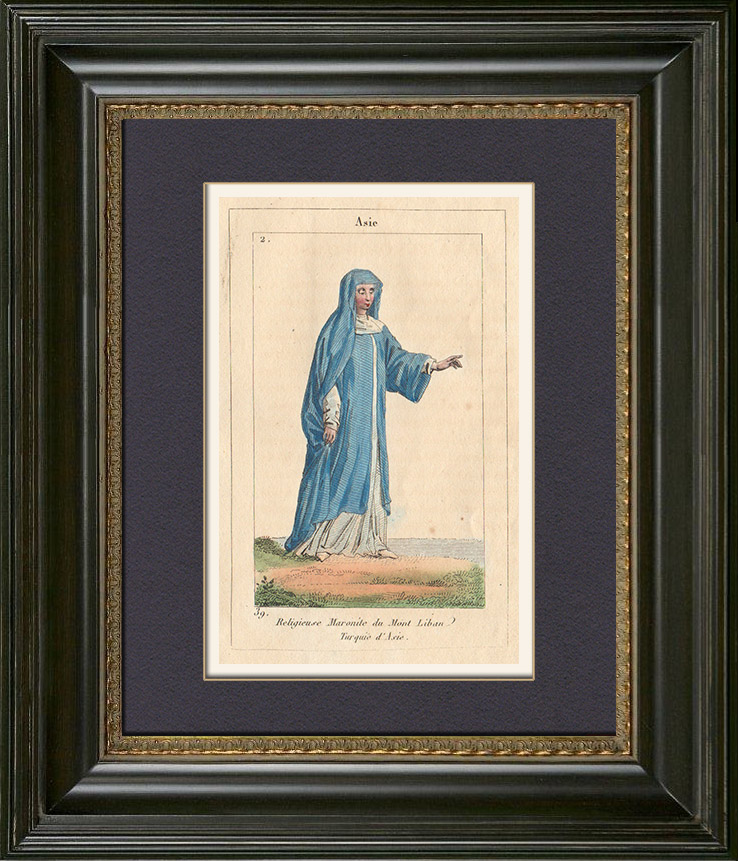 Antique Prints & Drawings   Peoples of the World - Asia - Near East - Mount Lebanon - Maronite   Copper engraving   1828