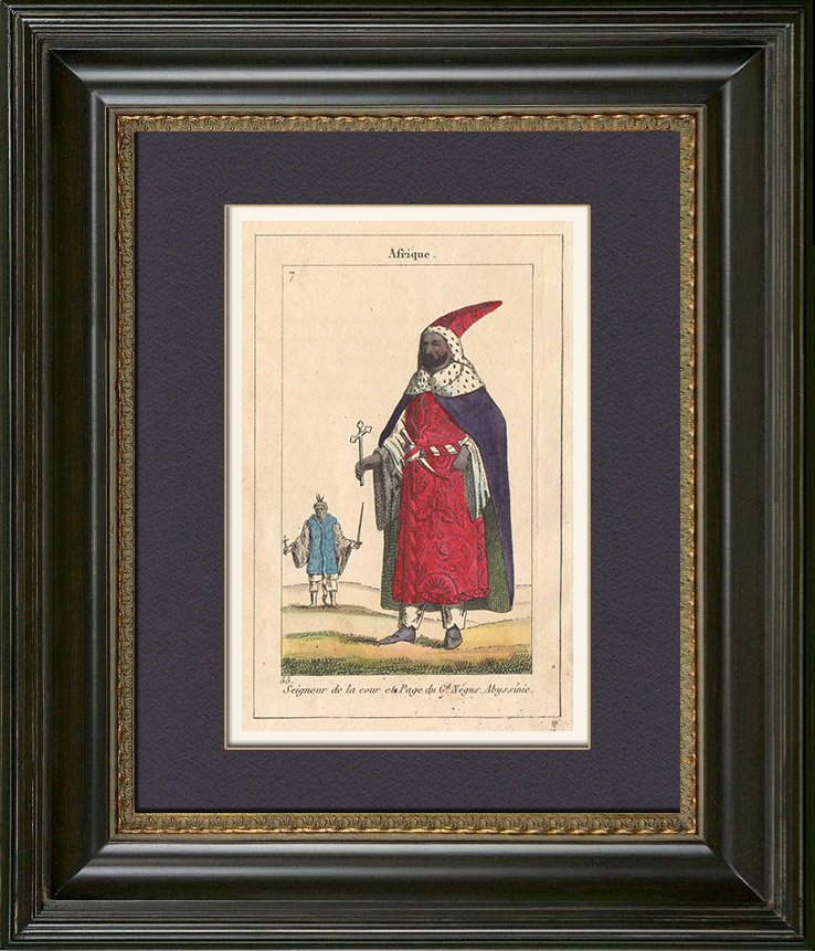 Antique Prints & Drawings | Peoples of the World - Africa - Abyssinia - Ethiopia - Grand Negus | Copper engraving | 1828