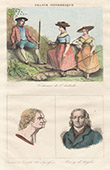 French Regional Costumes - Ardèche - Portrait of Montgolfier Brothers - Joseph (1740-1810) - Etienne (1745-1799) - Boissy d'Anglas (1756–1828)