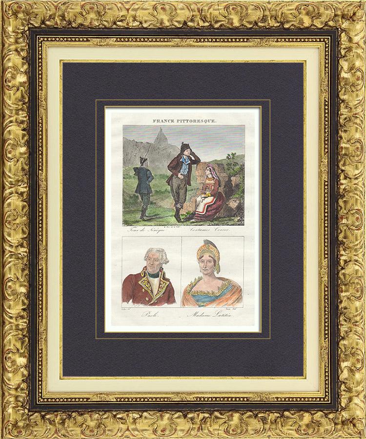 Antique Prints & Drawings   French Regional Costumes - Corsica - Portraits - Pascal Paoli (1725-1807) - Letizia Bonaparte (1750-1836)   Intaglio print   1835