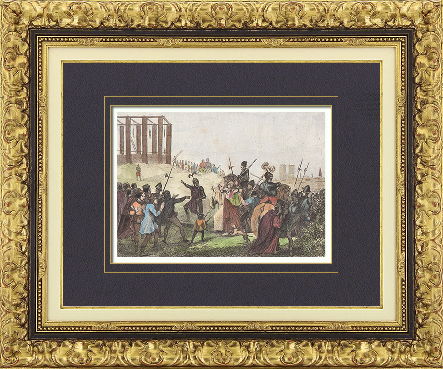 Gravures Anciennes & Dessins | Pendaison d'Enguerrand de Marigny au Gibet de Montfaucon (30 avril 1315) | Taille-douce | 1835