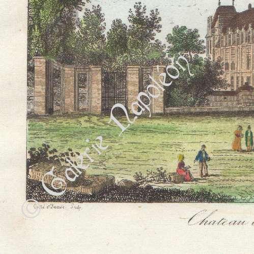 gravures anciennes vue du parc de saint cloud ch teau d 39 ecouen ile de france france. Black Bedroom Furniture Sets. Home Design Ideas