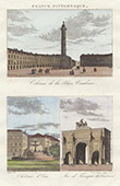 View of Paris - Place Vend�me - Vend�me Column - Ch�teau d'eau - Arc de Triomphe du Carrousel (France)