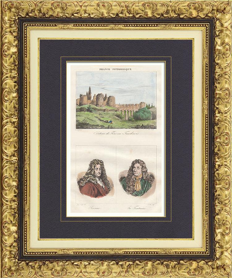 Gravures Anciennes & Dessins   Château de Fère-en-Tardenois (Aisne - France) - Portraits - Jean Racine (1639-1699) - Jean de La Fontaine (1621-1695)   Taille-douce   1835