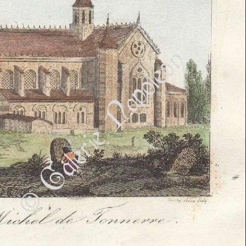 Gravures anciennes porte de sens abbaye saint michel for Porte unie st michel