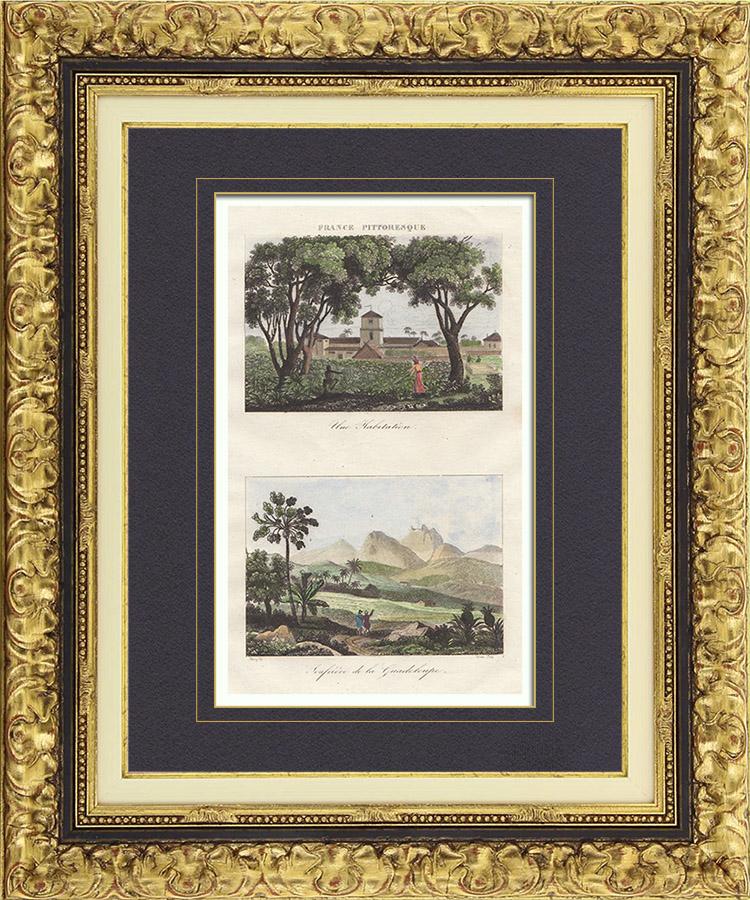 Antique Prints & Drawings   Dwelling - Volcano La Soufrière (Guadeloupe - France)   Intaglio print   1835