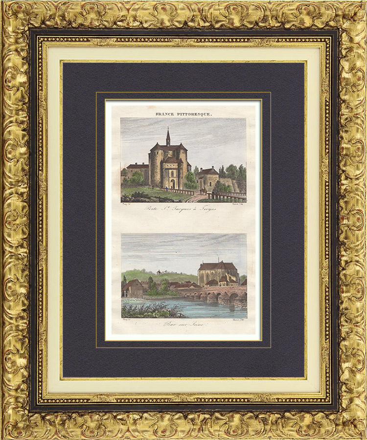 Antique Prints & Drawings | View of Troyes - Bar-sur-Seine (Aube - France) - Old Porte Saint Jacques at Troyes | Intaglio print | 1835