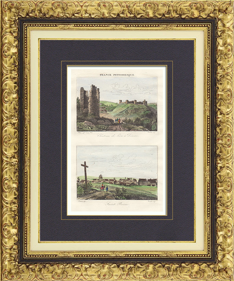 Antique Prints & Drawings | Ruins of Lehon Castle in Dinan - View of Saint Brieuc (Côtes d'Armor - France) | Intaglio print | 1835