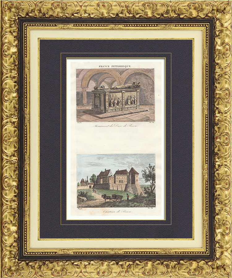 Antique Prints & Drawings | Castle of Biron - Tomb of the Dukes of Biron  (Dordogne - France) | Intaglio print | 1835