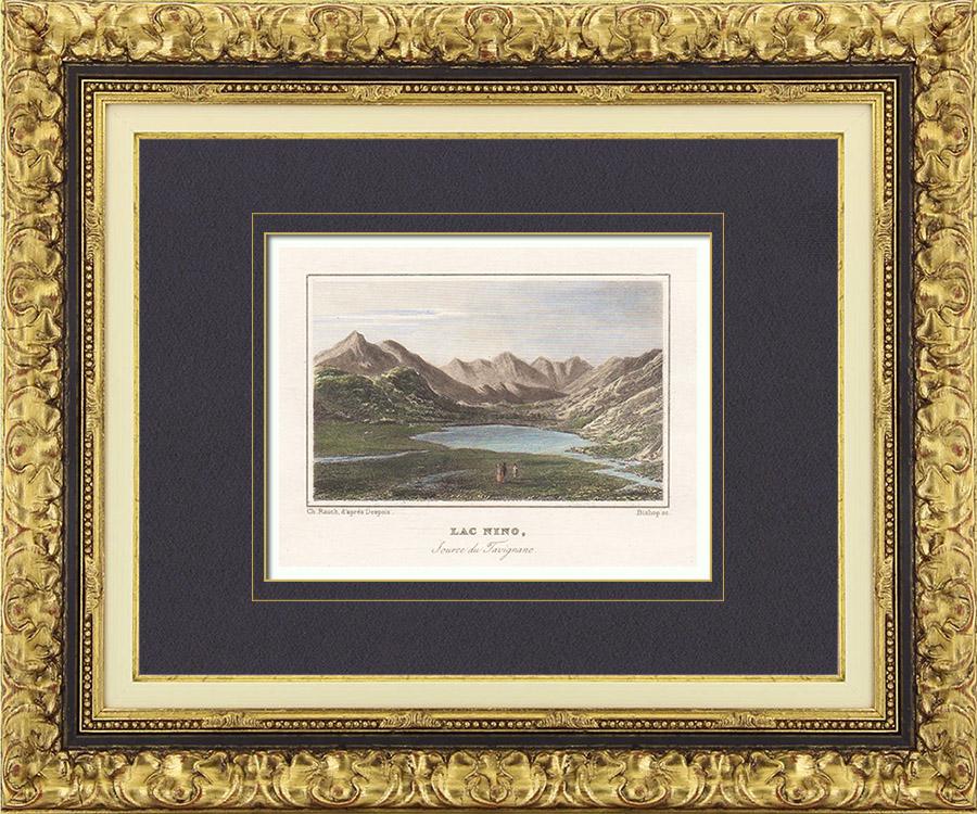 Antique Prints & Drawings   Lake - Lac de Nino - Tavignano (Haute-Corse - France)   Intaglio print   1838