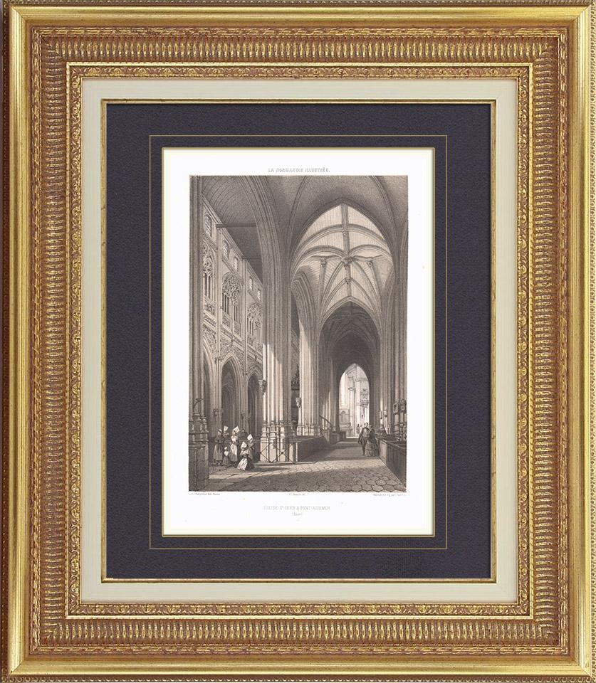 alte stiche kirche von pont audemer innere haute normandie eure frankreich. Black Bedroom Furniture Sets. Home Design Ideas