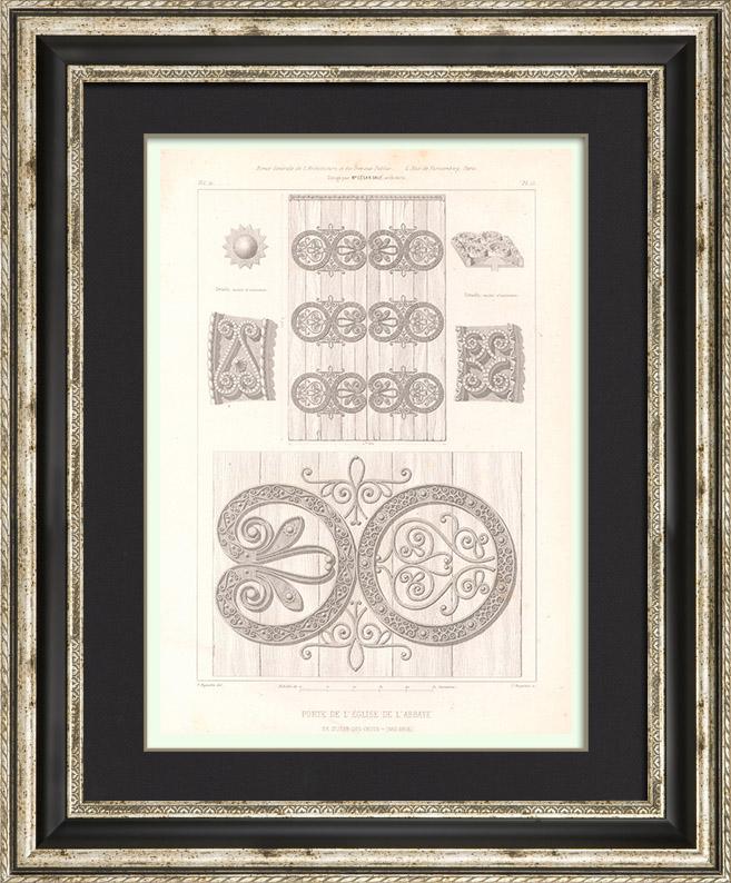Gravures Anciennes & Dessins   Portail de l'Ancienne Abbaye Saint-Jean-des-Choux (Bas-Rhin - France)   Taille-douce   1854