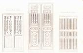 Architektenzeichnung - T�r aus Skulptiertes Holz (Italien)