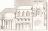 Architect's Drawing - Longitudinal section - Saint-Genou Church (Indre - France)