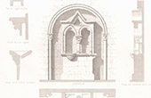 Drawing of Architect - Piscina - Medieval Church - Cathedral of Bayeux (Calvados - France)