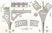 Ritning av Arkitekt - Bibliotek Sainte-Genevi�ve - Pilb�ge - Specificerar - Pantheon - Paris (M. Henri Labrouste Arkitekt)