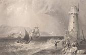 Irlande - Phare - Poolbeg Lighthouse - Great South Wall - River Liffey - Baie de Dublin