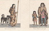 Traditional Costume - Eskimos of North Pole - Portrait of Chief Akaitcho and his son - Yellowknives - Canadian Indigenous