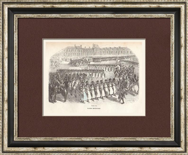 Gravures Anciennes & Dessins | Soldat Napoléonien - Uniforme - Garde Impériale - Revue militaire | Taille-douce | 1844