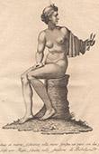 Italiensk Skulptur - Staty - Sittande kvinna med två flöjter i handen - Giardino di Boboli - Florens