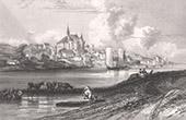 View of Candes-Saint-Martin - Church - Castle (Indre-et-Loire - France)