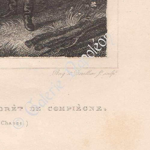 grabados antiguos napole n en selva de compi gne grabado en talla dulce 1827. Black Bedroom Furniture Sets. Home Design Ideas